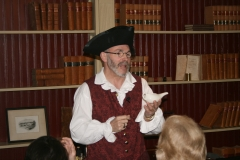 Costumed interpreter giving a presentation at Plympton Historical Society